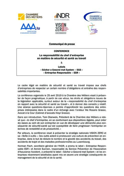 Dossier de presse: Conférence « La responsabilité du chef d'entreprise en matière de sécurité et santé au travail »