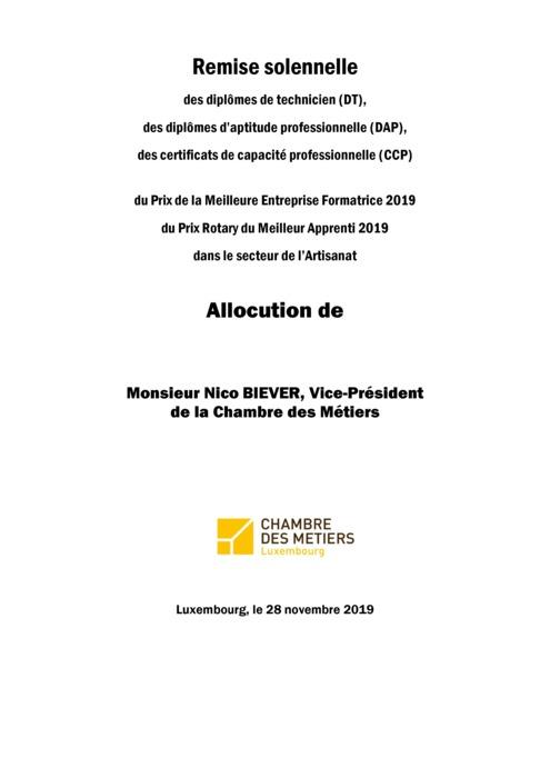 Discours N.Biever Remise DAP 2019