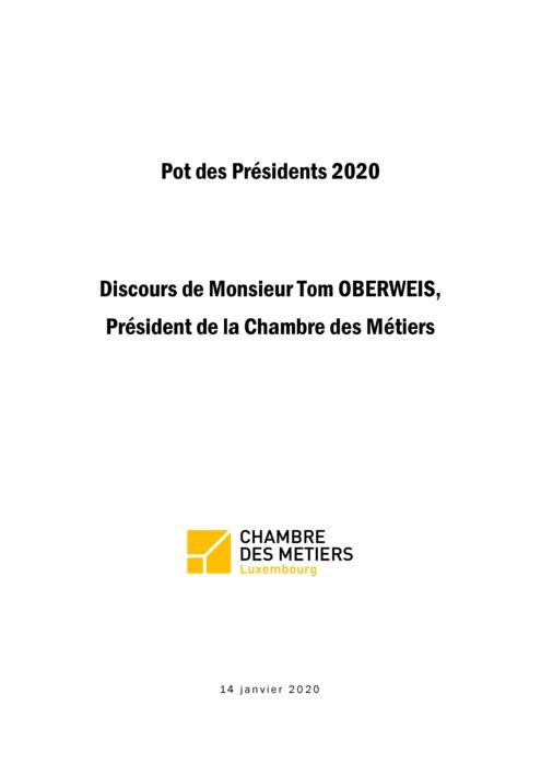 Pot des Présidents 2020: Discours Tom Oberweis