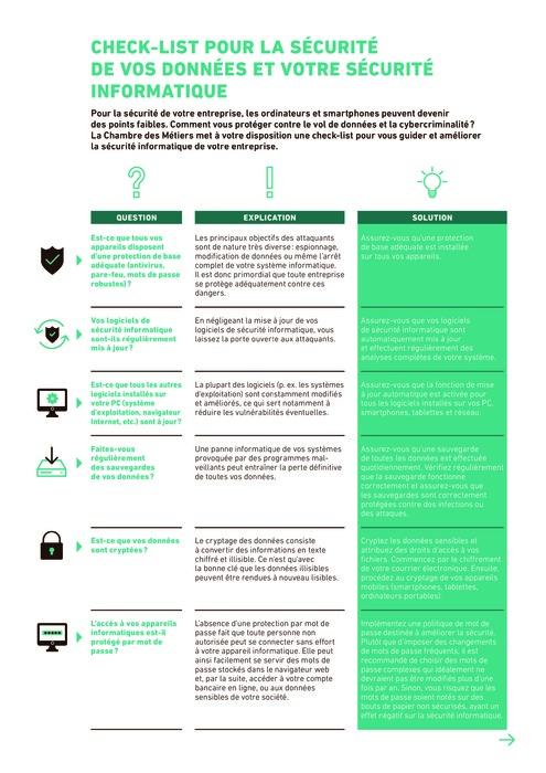 Check-list pour la sécurité de vos données et votre sécurité informatique