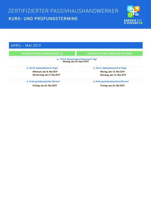PassivhausHandwerker : Kurs und Prüfungstermine und Anmeldeformular April - Mai