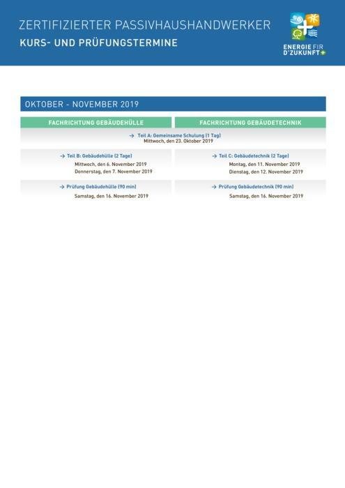 PassivhausHandwerker : Kurs und Prüfungstermine und Anmeldeformular Oktober - November