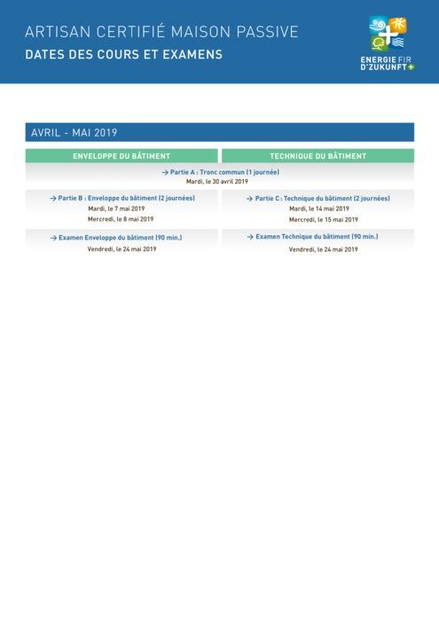 Artisan certifié maison passive : Dates des cours avril - mai et fiche d'inscription 2019