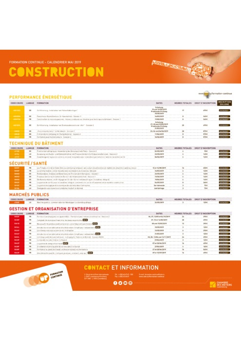 Calendrier Formation Continue - Mai Juin 2019 - Construction