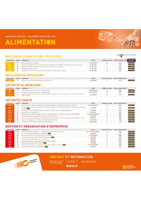 Calendrier Formation Continue - Mars Avril 2019 - Alimentation