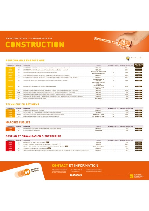 Calendrier Formation Continue - Mars Avril 2019 - Construction
