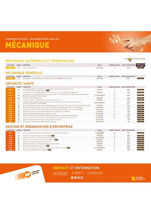 Calendrier Formation Continue - Mars Avril 2019 - Mecanique
