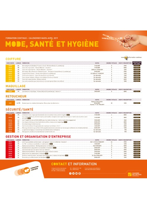 Calendrier Formation Continue - Mars Avril 2019 - Mode