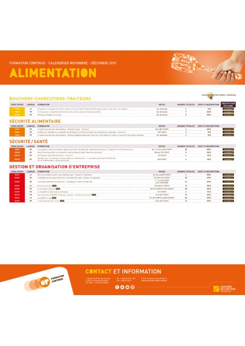 Calendrier Formation Continue - 2019 - Alimentation