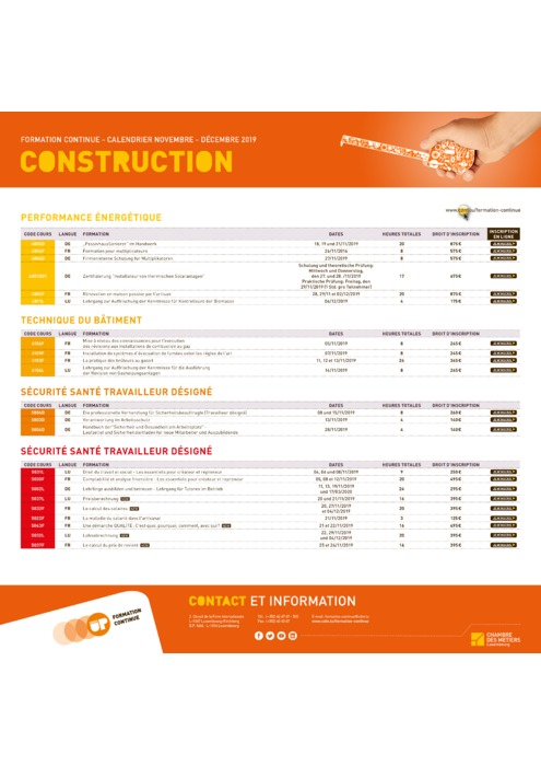 Calendrier Formation Continue - 2019 - Construction