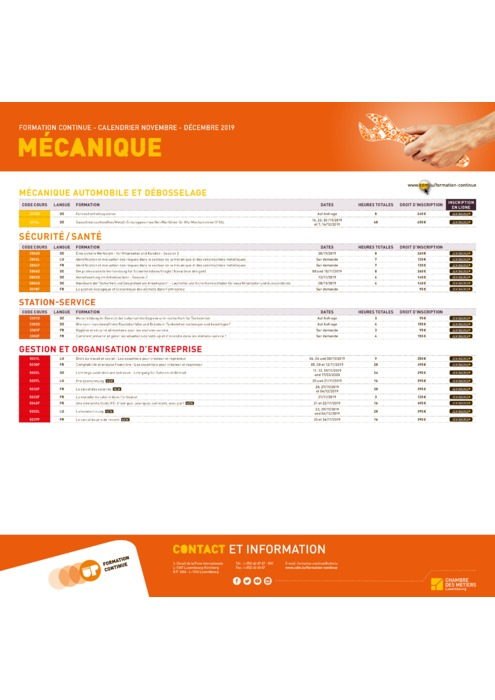 Calendrier Formation Continue - 2019 - Mecanique