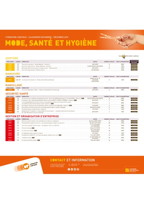 Calendrier Formation Continue - 2019 - Mode