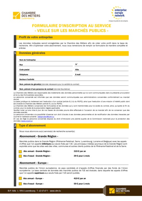 Formulaire d'inscription au service «Veille sur les marchés publics»