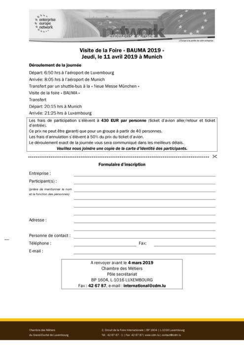 Formulaire d'inscription BAUMA 2019