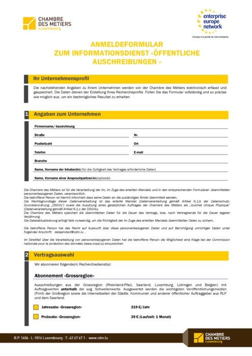 Anmeldeformular zum Service «Veille sur les marchés publics»