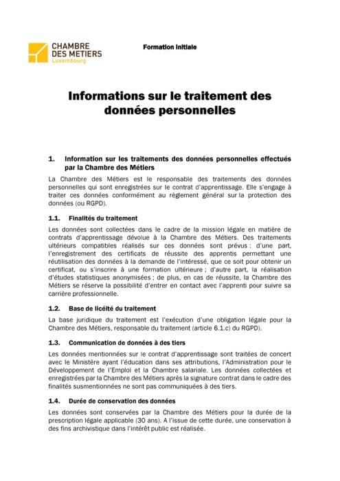 Informations sur le traitement des données personnelles (Formation initiale)