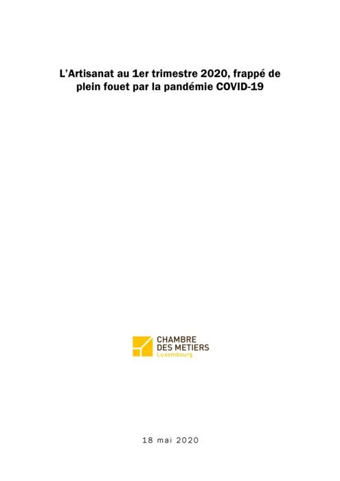 L'Artisanat au 1er trimestre 2020 frappé de plein fouet par la pandémie Covid-19