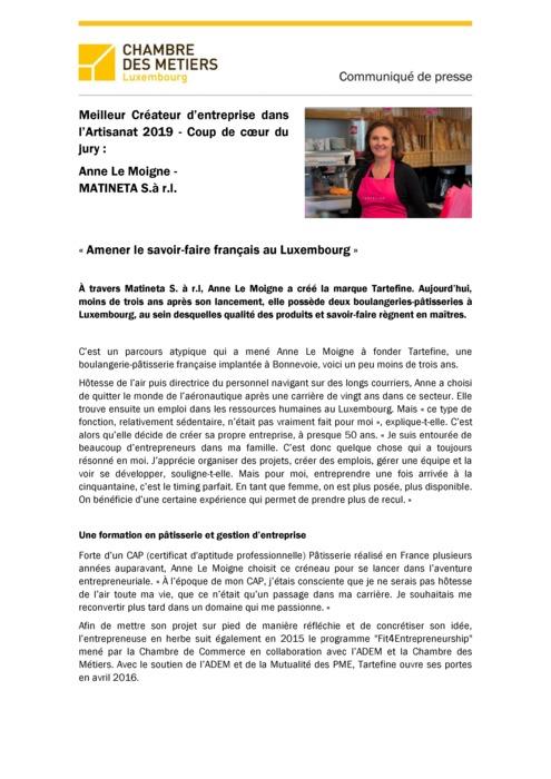 PORTRAIT_Coup de coeur «Meilleur Créateur d'Entreprise dans l'Artisanat 2019» Anne Le Moigne 2019