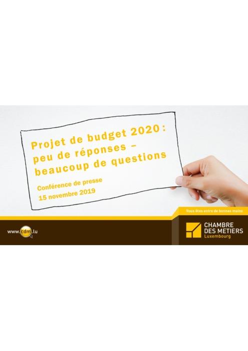 Présentation: Avis du budget d'Etat 2020