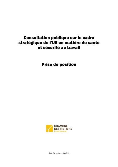 Prise de position CdM consultation cadre stratégique UE santé et sécurité au travail 26 02 2021