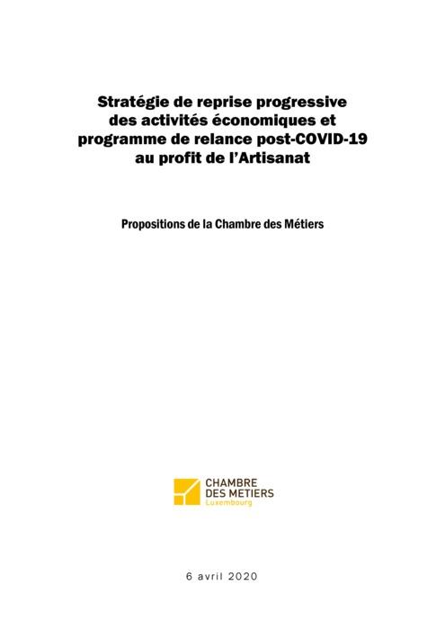 Stratégie de reprise progressive des activités économiques et programme de relance post-COVID-19 au profit de l'Artisanat