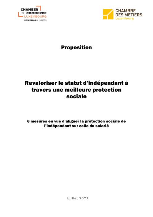 Proposition CC et CdM : Valoriser le statut de l'indépendant