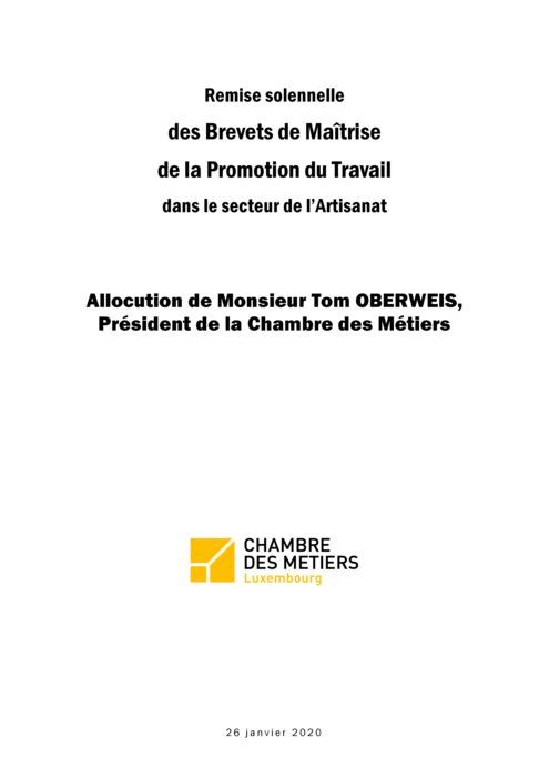 Remise solennelle des Brevets de Maîtrise et de la Promotion du Travail - Promotion 2019 - Discours Tom Oberweis