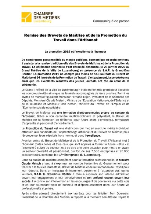 Communiqué de presse - Remise des Brevets de Maîtrise et de la Promotion du Travail dans l'Artisanat - Promotion 2019
