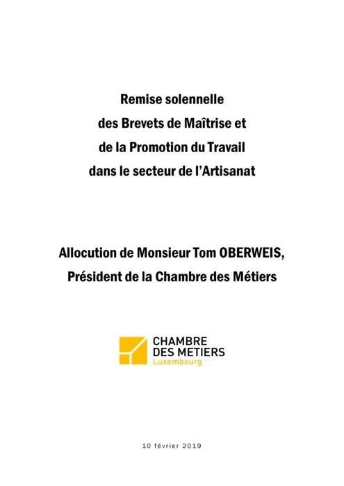 Discours - Remise solennelle des Diplômes de Maîtrise et des Diplômes de la Promotion du Travail dans le secteur de l'Artisanat 2019