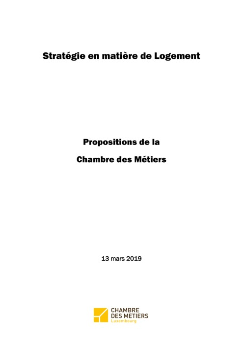 Stratégie Logement : Propositions de la Chambre des Métiers