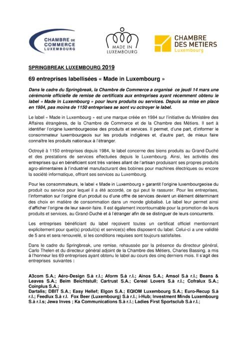 Communiqué de presse - Remise des labels Made in Luxembourg printemps 2019