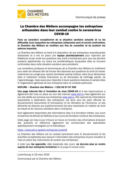 Communiqué de presse - La Chambre des Métiers accompagne les entreprises artisanales dans leur combat contre le coronavirus COVID-19