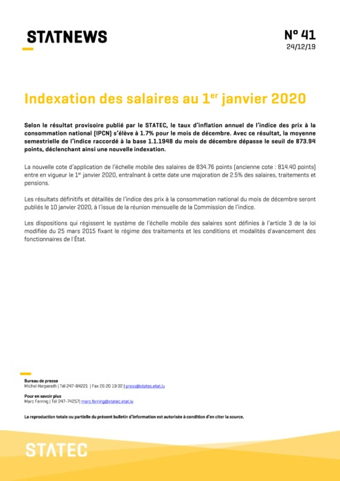 Statec News n°41 - Tranche indiciaire 2020