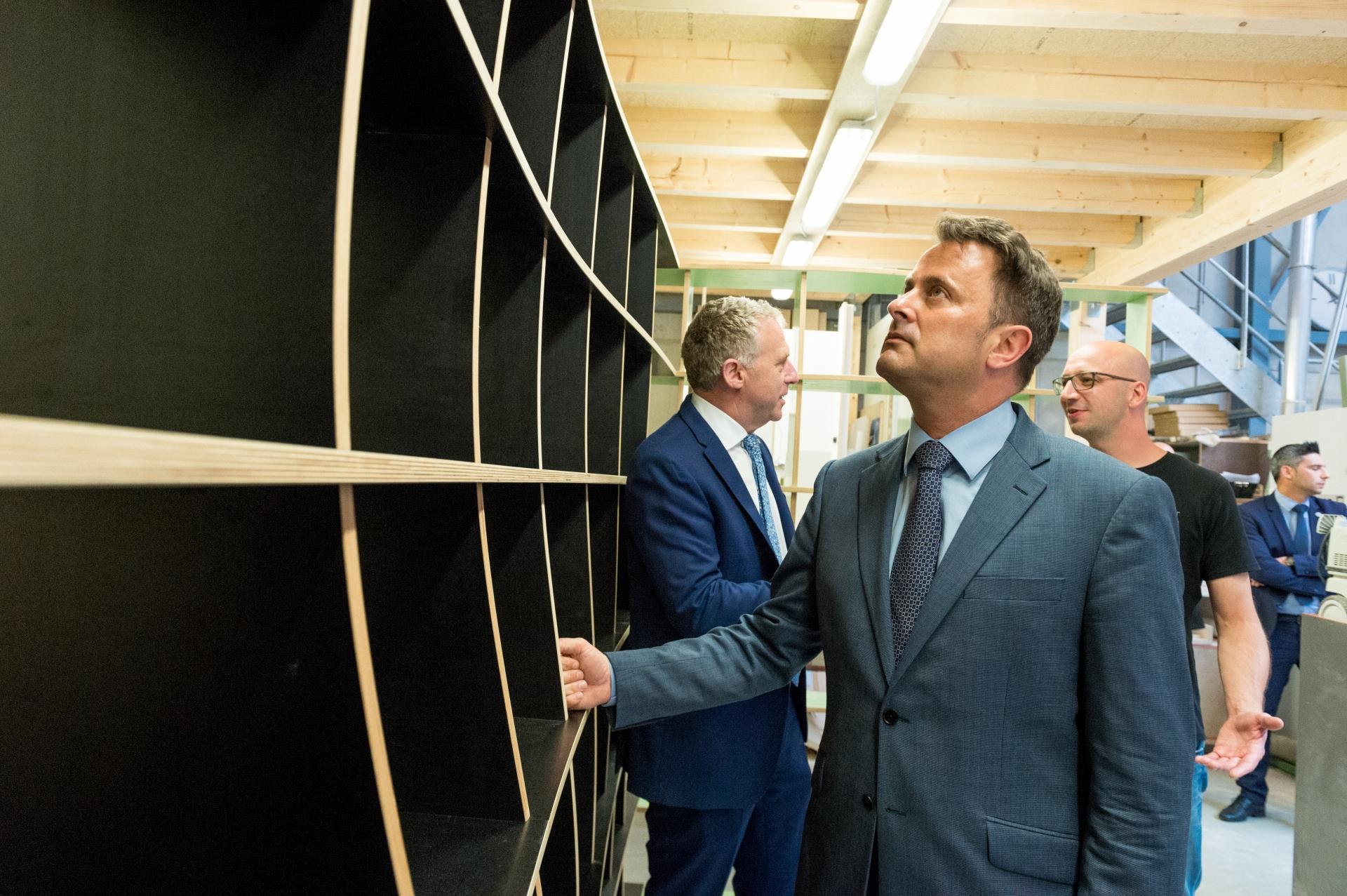Visite de la menuiserie Modulor par le Premier Ministre Xavier Bettel du 13 juin 2018