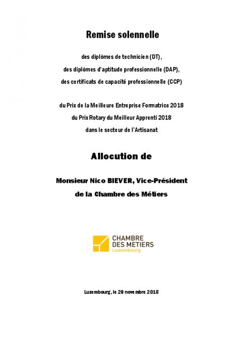 Discours N. Biever CDM remise 29-11-2018