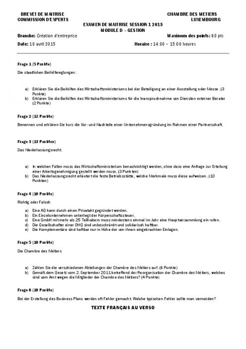 Module d cr ation d 39 entreprise session 1 fr de - Creation entreprise chambre des metiers ...
