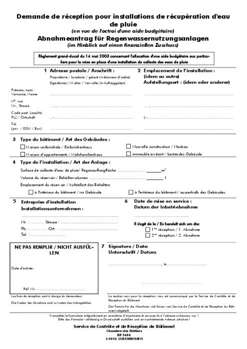 Demande de r ception pour installations de r cup ration d - Demande extrait kbis chambre des metiers ...