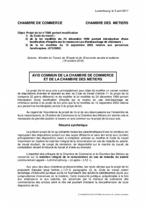 Loi omnibus droit du travail chambre des m tiers for Stage chambre de commerce