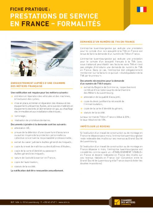 Fiche Pratique Prestations De Services En France Formalites