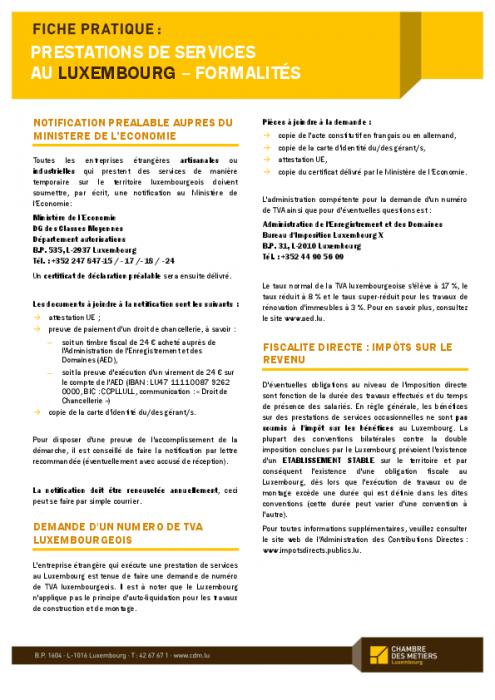 Fiche Pratique: Prestations De Services Au Luxembourg   Formalités